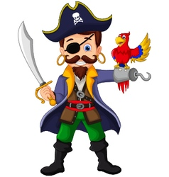 Cartoon pirate and parrots vector