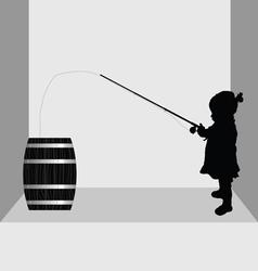 Child fishing in barrel vector