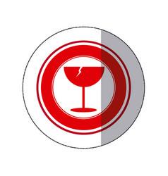 Color glass broken emblem icon vector