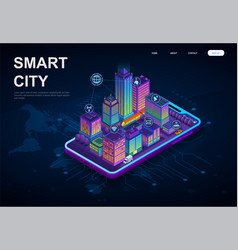 colorful 3d smart city on digital device vector image
