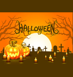 cover halloween pumpkin and candlesm the card is vector image