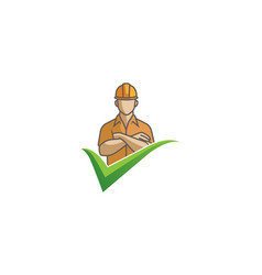 Creative engineer man arms folded check logo vector