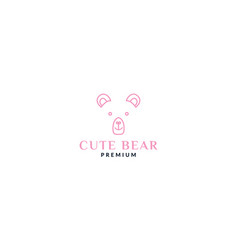 Cute bear face head line pink logo design vector