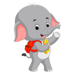 Cute elephant with backpack vector