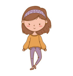 Cute girl cartoon stylish outfit vector