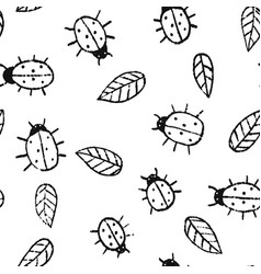 cute summer pattern with hand drawn ladybugs and vector image