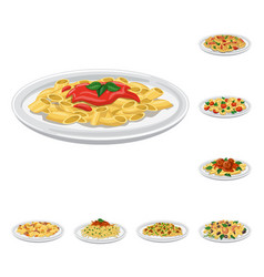 Design of pasta and carbohydrate symbol vector