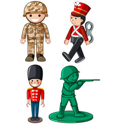 Different designs of toy soldiers vector