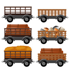 Different types of wagons vector