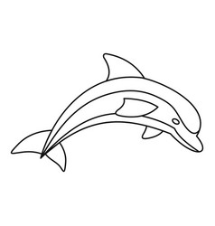 dolphin icon outline style vector image