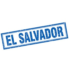 El Salvador blue square grunge stamp on white vector