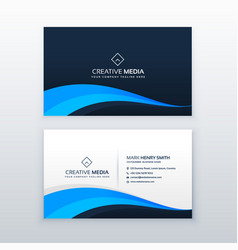 Elegant blue wave business card design template vector