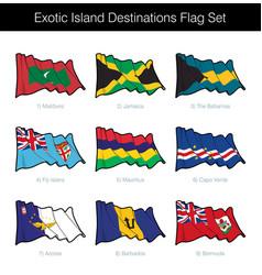 Exotic island destinations waving flag set vector