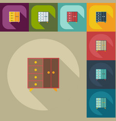 Flat concept set modern design with shadow drawer vector