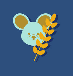 Flat icon design collection koala and plant in vector