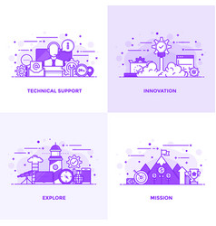 Flat line purple designed concepts 11 vector