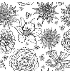 Floral seamless pattern with sketch of flowers vector