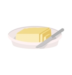 full color dish with butter and knife vector image