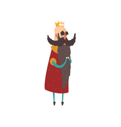 Funny bald bearded character king character vector