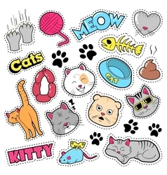Funny Cats Badges Patches Stickers vector image