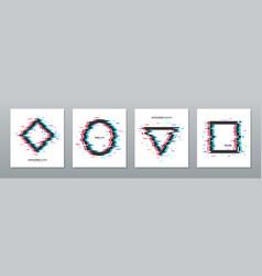 glitch effect frames set vector image