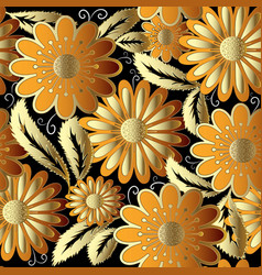 gold flowers ornate seamless pattern vector image