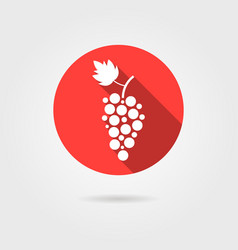 Grape icon in red circle with long shadow vector