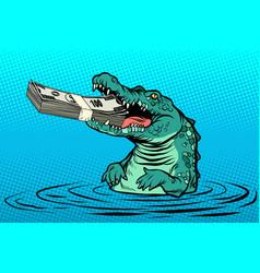 green crocodile eats money vector image