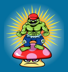 Green giant and angry mushroom cartoon character vector