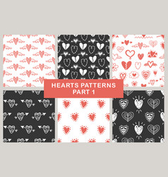 hand drawn hearts seamless patterns set vector image