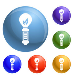hand eco bulb icons set vector image