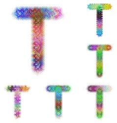 Happy colorful fractal font set - letter T vector