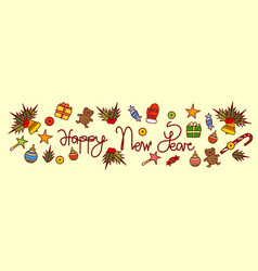 happy new year text design on merry christmas vector image