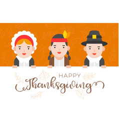 Happy thanksgiving background with pilgrim and vector