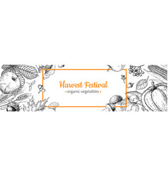 Harvest festival banner hand drawn vintage vector