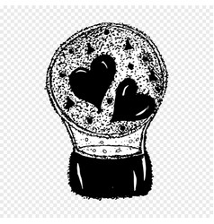 Hearts in a snowball love tattoo vector