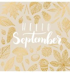 Hello september card vector