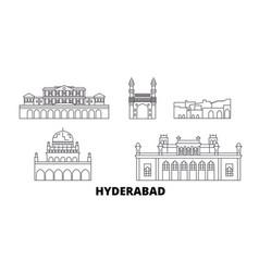 India hyderabad line travel skyline set vector