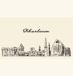 khartoum skyline sudan hand drawn sketch vector image