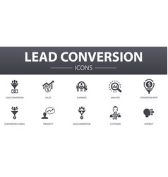 Lead conversion simple concept icons set contains vector