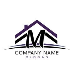 Letter m house logo vector