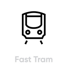 light rail transit icon editable line fast vector image