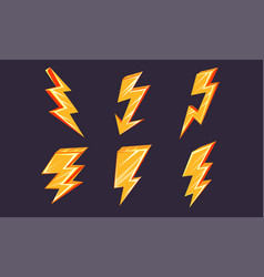lightning bolt set thunderbolts different vector image