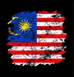 Malaysia flag grunge brush background old brush vector