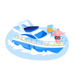 male character traveling on luxury yacht at sea on vector image