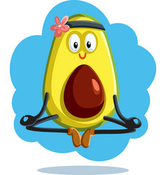 meditating avocado in yoga pose cartoon vector image