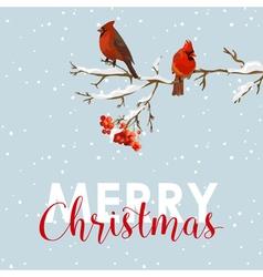 Merry Christmas Card - Winter Birds with Rowan vector