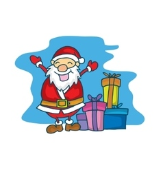 Merry Christmas Santa Claus with gift cartoon vector