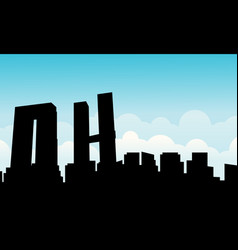 mexico city skyline scenery silhouettes vector image