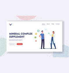Mineral complex supplement landing page template vector
